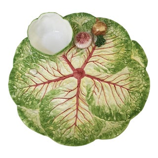 Italian Majolica Cabbage Leaf Chip and Dip Platter and Bowl For Sale