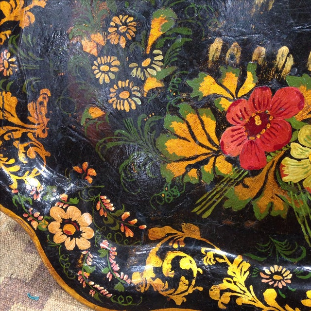 Antique Hand-Painted Tin Tray For Sale - Image 5 of 6