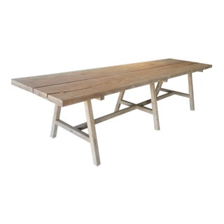 Ozshop Monkey Pod Two-Plank Dining Table With Trestle Legs For Sale