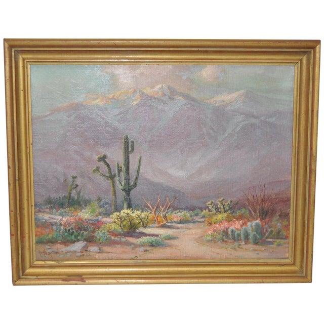 Canvas Arthur Best (1859-1935) American Desert Landscape C.1920s For Sale - Image 7 of 7