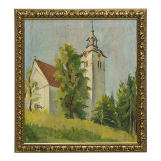 1930s Vintage French Church Steeple School Oil Painting For Sale