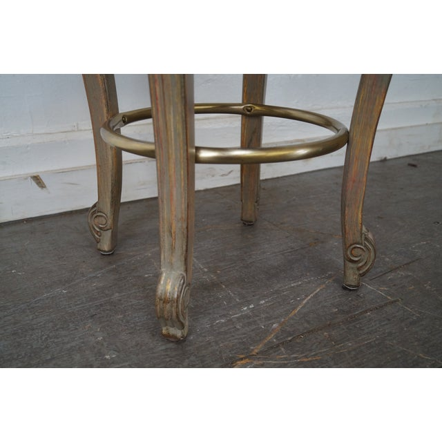 French Louis XV Style Swivel Bar Stools - Set of 3 For Sale In Philadelphia - Image 6 of 10