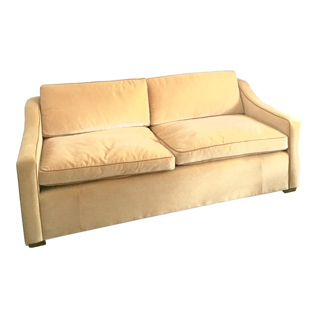 Luxury Mohair & Leather Trim Sofa For Sale