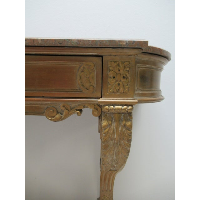 Early French Victorian Marble Top Wall Hall Console Server Table For Sale In Philadelphia - Image 6 of 13