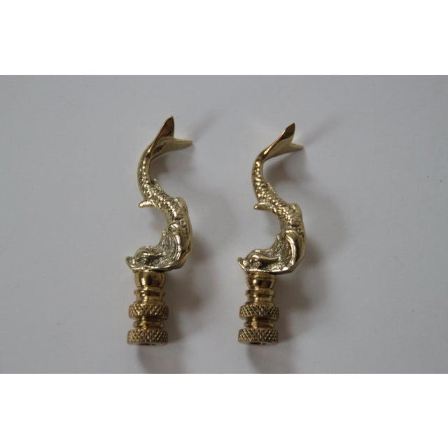 Brass Asian Dolphin Finials - a Pair - Image 2 of 2