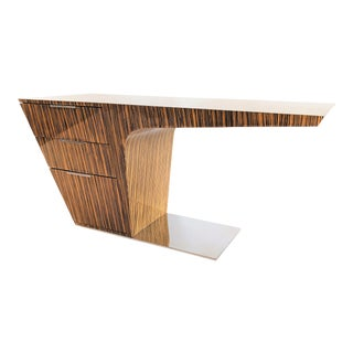 Zebra Wood Modern Cantilever Desk For Sale