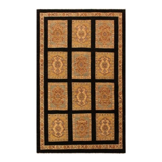 "Kafkaz Peshawar Wallace Black/Gold Wool Area Rug - 3'1"" X 4'11"""