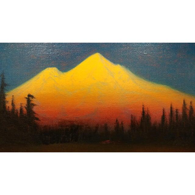 James Everett Stuart- Sunset Glow at Mt Shasta -Beautiful Oil Painting 1921 For Sale - Image 4 of 10