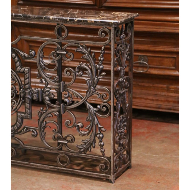 18th Century French Louis XV Polished Iron Console Table With Grey Marble Top For Sale - Image 11 of 13