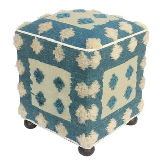 Modern Moroccan Blue & Tan Wool Upholstered Handmade Ottoman For Sale
