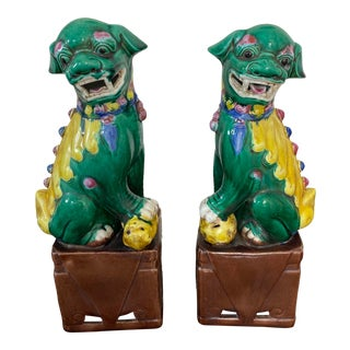 Chinese Foo Dogs Multi Color on Brown Base - a Pair For Sale