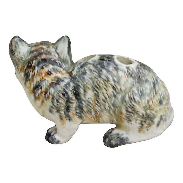 Figurative Petite Majolica Massier Cat Vase For Sale - Image 3 of 4