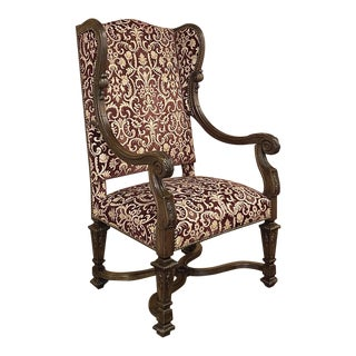 Grand French Louis XIV Walnut Wingback Armchair For Sale