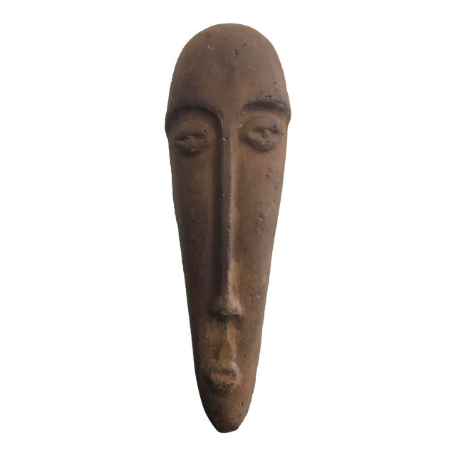 Primitive Face Sculptural Wall Object For Sale