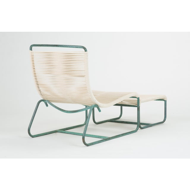 Metal Sleigh Chair and Ottoman by Walter Lamb for Brown Jordan For Sale - Image 7 of 13