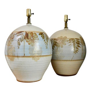 Vintage 1970s Hand Thrown and Painted Ceramic California Pottery Flower Leaf Lamps - a Pair