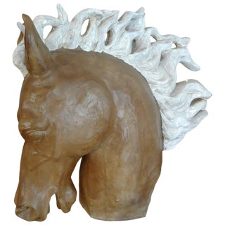 1950s Glazed Terra Cotta Horse Head Sculpture For Sale