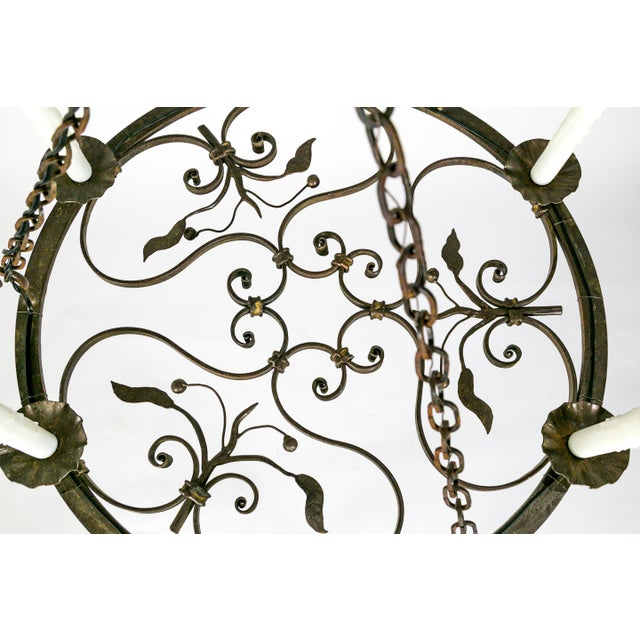 Hand Wrought Flat Leaf and Scroll Chandelier - Image 5 of 9