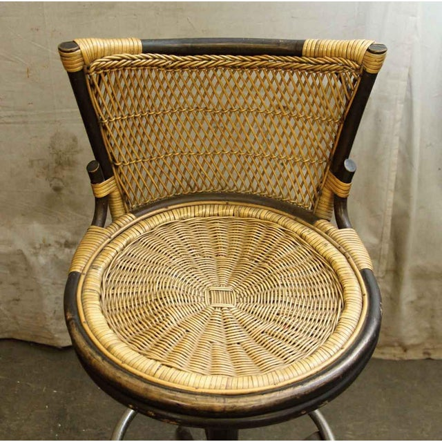 Aesthetic Movement Oriental Style Wicker & Metal Bar Stool For Sale - Image 3 of 7