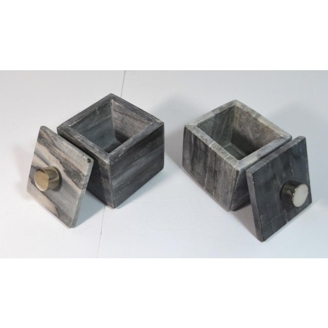Contemporary Contemporary Small Square Slate Gray Marble Boxes - A Pair For Sale - Image 3 of 7