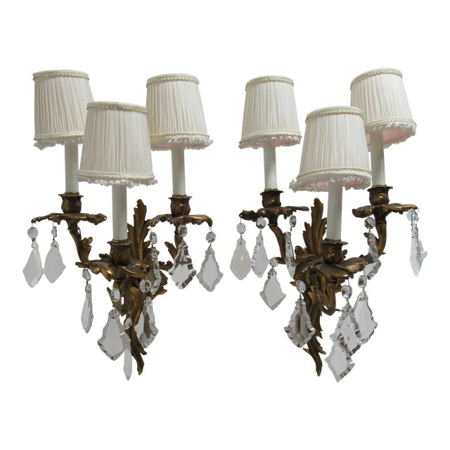 Vintage Chapman Brass French Regency Wall Sconces - a Pair For Sale