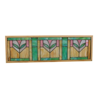 Antique Arts & Crafts Framed Stained Glass Transom Window (B) For Sale