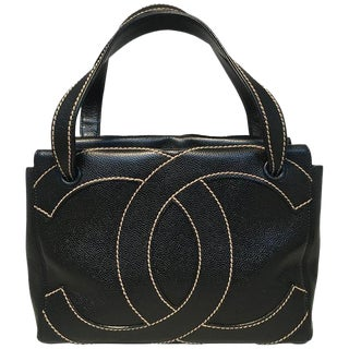 Chanel Black and Cream CC Logo Caviar Leather Handbag For Sale