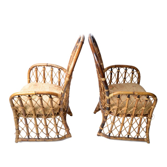 Set of 2 Vintage Rattan, Wicker and Bamboo Dining Chairs for your Pavilion. Chinese inspired bamboo patterns. Handcrafted...