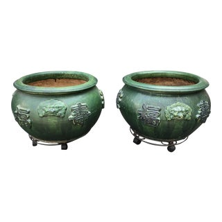 Pair of Antique Green Chinese Pottery Jardenier Flower Pots