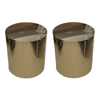 1970s of Stainless Steel Drum Tables by Milo Baughman - a Pair For Sale