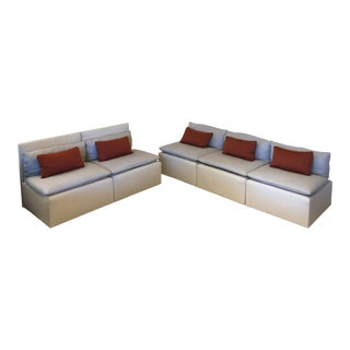 Euro Modular Linen Sofa Set - 5 Pieces For Sale