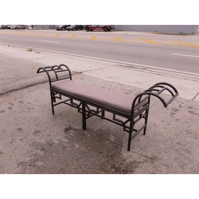 1990's Vintage Post Modern Chinese Chippendale Metal Bench For Sale In Miami - Image 6 of 12