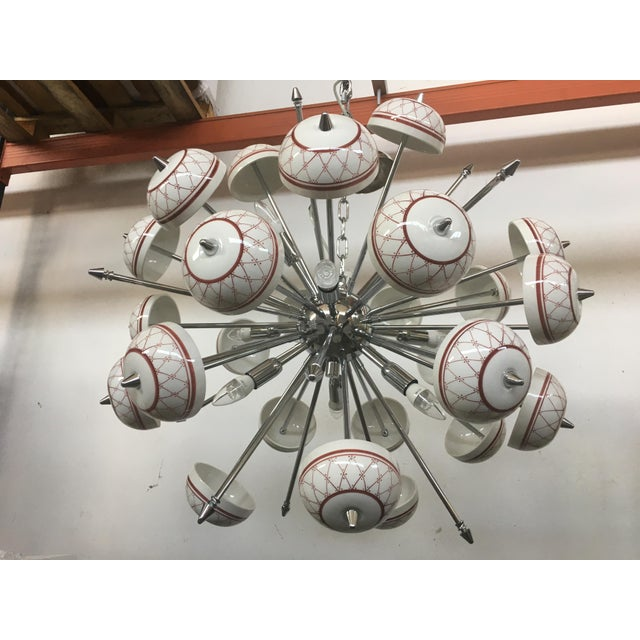 Italian Hand Made Painted Ceramic Sputnik Chandelier For Sale - Image 4 of 10