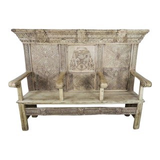 18th Century Italian Renaissance Style Walnut Carved Bench For Sale