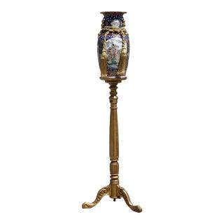 Vintage Oversized Rose Medallion Chinese Vase With Gold Wood Pedestal For Sale