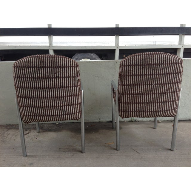 Milo Baughman Mid-Century Chrome Upholstered Armchairs - A Pair For Sale - Image 4 of 10