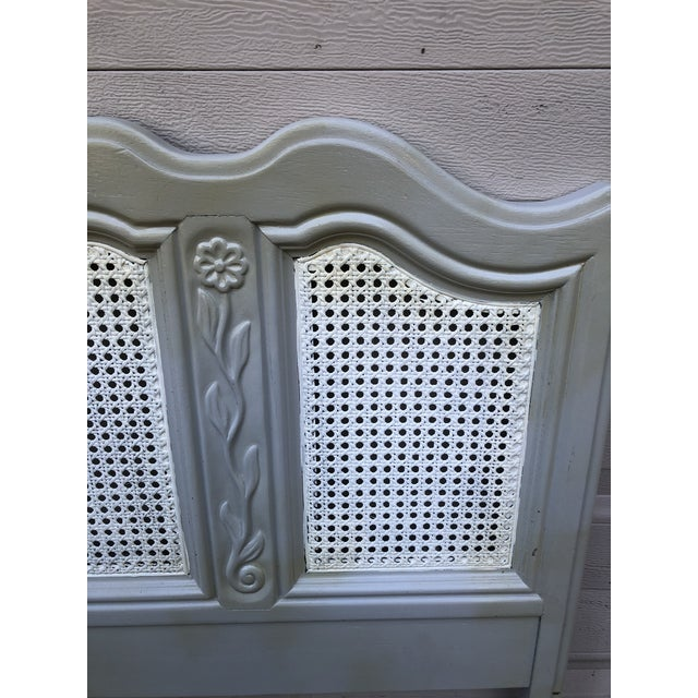 Canary Yellow Drexel Heritage Cabernet Classics Full/Queen Painted Caned Headboard For Sale - Image 8 of 13