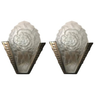 Degue Signed Frost French Art Deco Sconces - a Pair For Sale
