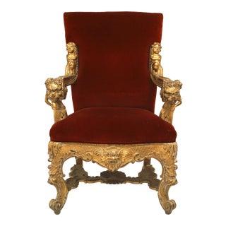Italian Rococo Red Velvet Throne Chair For Sale