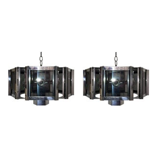 Robert Sonneman Hexagonal Chrome Chandeliers - a Pair