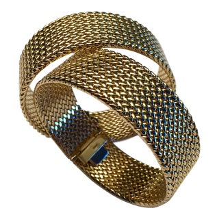 Italian 18k Woven Gold Bracelets - a Pair For Sale