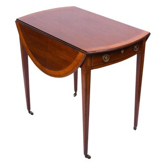 English George III English Mahogany Inlaid Pembroke Table For Sale