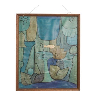 Vintage Paul Klee Abstract Silkscreen Print, Fish in Blue Green For Sale