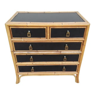 Asian Inspired Black Hollywood Regency Chest of Drawers With Brass Modern Chinoiserie Hardware For Sale