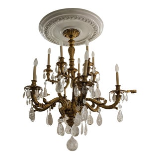 19th Century French Bronze Chandelier With Rock Crystals For Sale