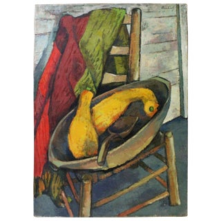 Vintage Mid-Century Buchholz Antiques and Summer Squash Oil Painting For Sale