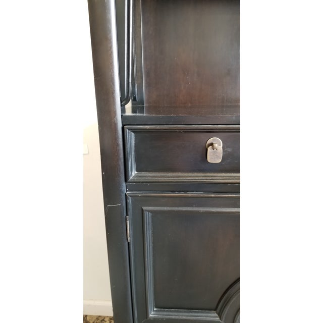 Black Vintage Century Furniture Black Dry Bar Cabinets With Brass Hardware - a Pair For Sale - Image 8 of 9