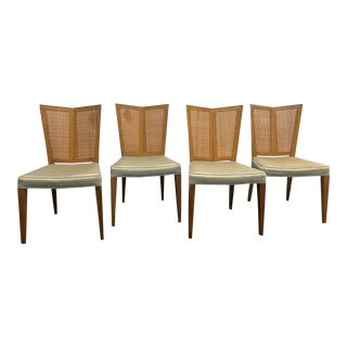 1950s Arts and Crafts Michael Taylor for Baker V-Back Dining Chairs - Set of 4 For Sale