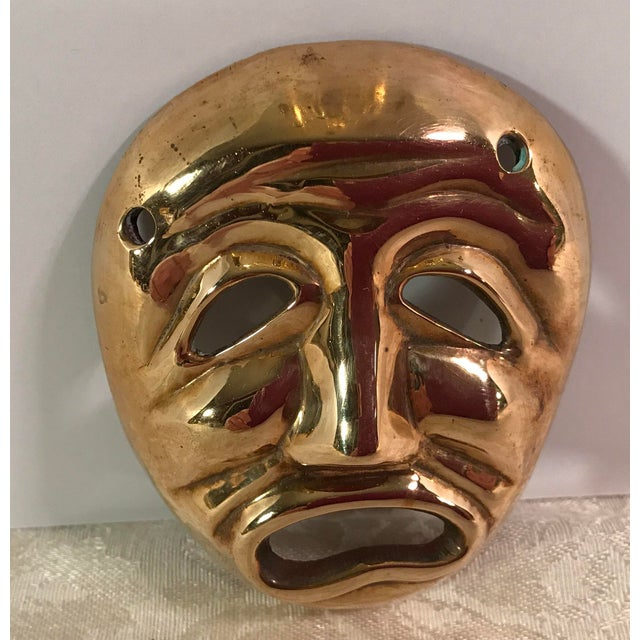 Mid-Century Modern Brass Tragedy Mask - Image 3 of 9