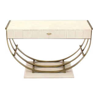 Vintage Mid Century White Pickled Oak Finish Brass U-Shape Base Console Table For Sale